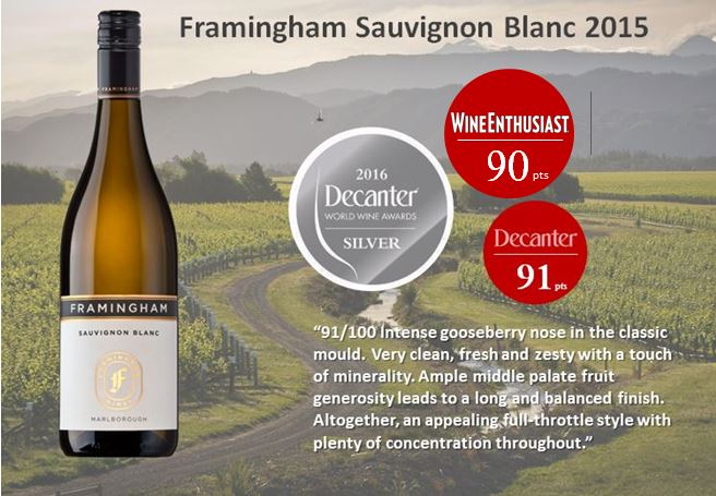 Wine Enthusiast gives Framingham Sauvignon Blanc 90 points