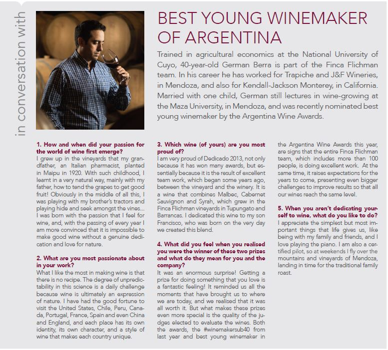 Some Q&A with Finca Flichman's winemaker, German Berra